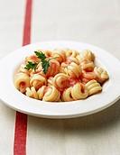 Riccioli pasta with tomato sauce