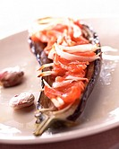 aubergine stuffed with tomato and onion