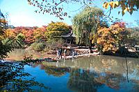 scenery, person, nature, pond, palace, landscape, bridge