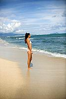 View of a young woman standing on beach