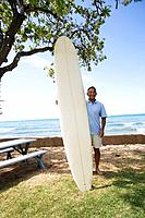 Man standing with surfboard