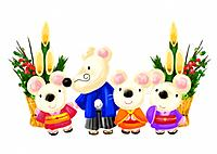 Mouse's family of Japanese New Year