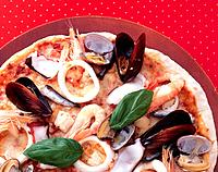 Seafood Pizza, High Angle View