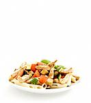 Penne with chicken breast and vegetables
