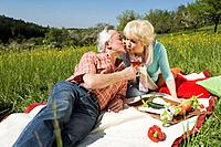 Germany, Baden Württemberg, Tübingen, Senior couple having picnic, senior man kissing senior woman