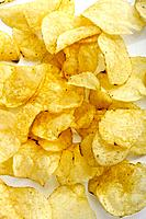 Salted potato chips, close_up