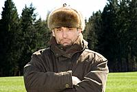 Germany, Bavaria, Man with fur cap, portrait