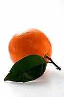 Orange with stalk and leaf
