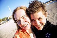 France, Two women, smiling, portrait