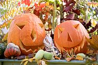 Autumnal garden decoration with pumpkins