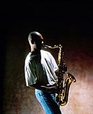 a man playing saxophone