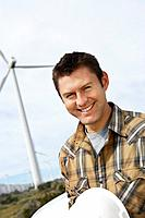 Engineer at wind farm portrait