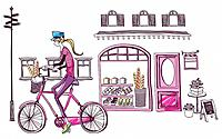 Woman on bicycle outside bakery