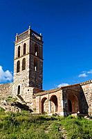 Castle and mosque-church of Nuestra Señora de la Concepcion, Almonaster la Real, Sierra de Aracena y Picos de Aroche Natural Park. Huelva province, An...