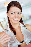 young, attractive woman with sparkling wine