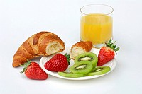 Croissant, Strawberries, Kiwi and Orange squash, Chinese Gooseberry