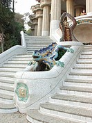 Stairway, Lizard, Guel Gaud Park, Barcelona, Spain