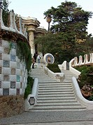 Stairway, Guell Gaudi Park, Barcelona, Spain