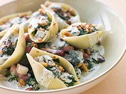 Conchiglioni pasta shells with Spinach Pancetta Pine Nuts and Gorgonzola Cream