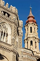 Belfry, tower and windows of cathedral of San Salvador, Zaragoza. Aragon, Spain