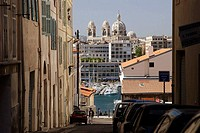 French. Provence. Marseille. The view of Old port(Port Vieux) with Cathedrale de la Major in the background.