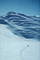 Cross Country skier, Forger Peaks, BC Coast Mountains