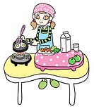 A girl cooking a healthy meal