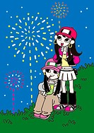 Two young women watching fireworks
