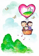 Family in a hot air balloon (thumbnail)