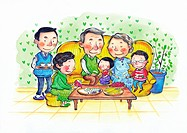 A family having fruit with the grandparents (thumbnail)
