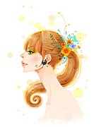 Profile of a young woman with flowers in her ponytail