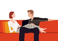 A couple relaxing on a sofa together