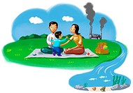 A family having a picnic and a factory polluting in the background