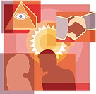 A montage of the sun, a man and woman talking, a handshake, and eye on pyramid