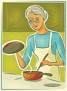 An elderly woman cooking on the stove