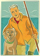 An elderly man with his dog and a fishing rod by the water