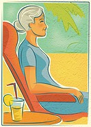 An elderly woman relaxing in a chair outdoors with a drink
