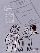 Illustration of a doctor talking to a couple, with pills and a prescription in the background