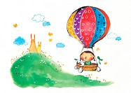 A little girl and a dog in a hot air balloon