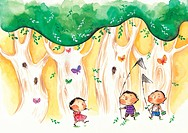 Children walking through a forest with fishing nets