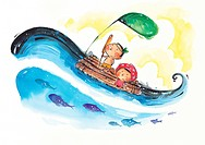 Children sailing on a wooden raft with fish in the sea