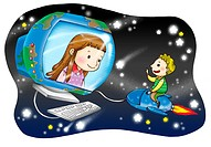 Boy sitting on flying mouse, talking to a girl in a computer screen shaped like the world