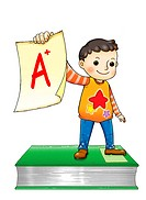 A boy holding a report card, standing on a book