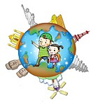Children walking in a globe surrounded by landmarks