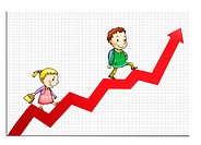 Children walking up a red arrow on a graph