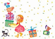 Young girl holding a stack of presents and confetti