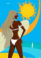 A tanned woman with a surfboard by the ocean and a hot sun