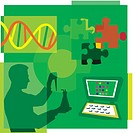 Montage illustration about DNA research containing a scientist, DNA, puzzle pieces and a computer