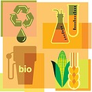 Montage illustration about biofuels containing beakers, corn, wheat, gas pump and recycling symbol