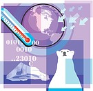 Montage illustration about global warming containing the world, thermometer, polar bear, codes, and iceberg